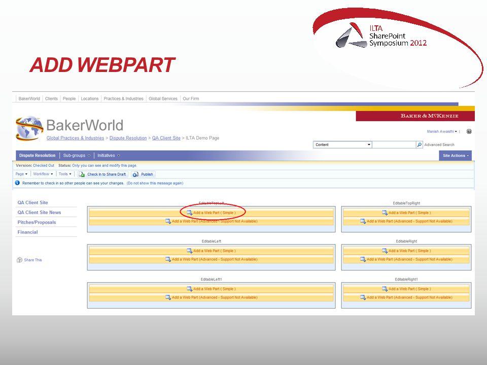 ADD WEBPART