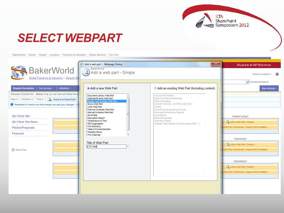 SELECT WEBPART