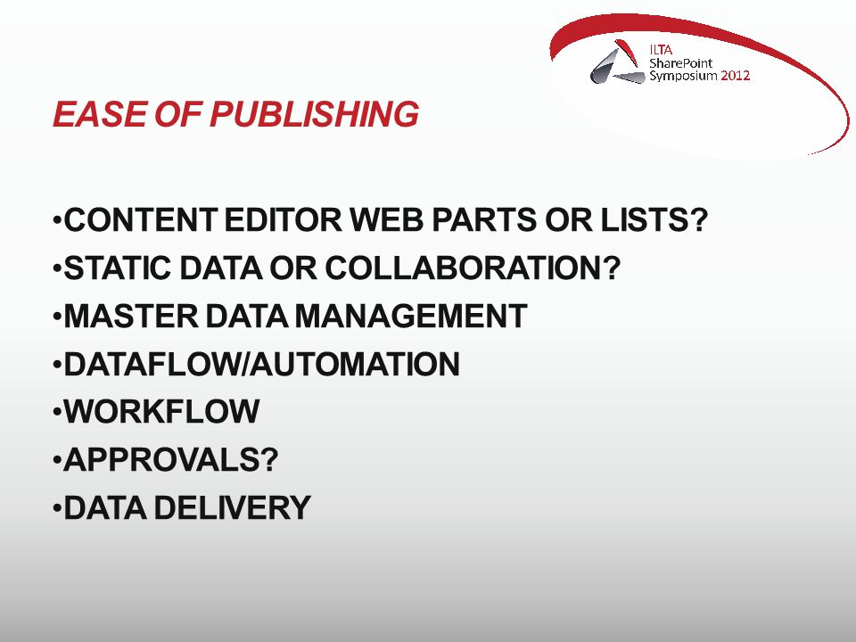 EASE OF PUBLISHING CONTENT EDITOR WEB PARTS OR LISTS.