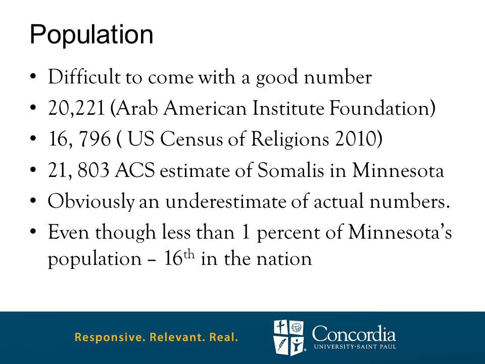 Population Difficult to come with a good number 20,221 (Arab American Institute Foundation) 16, 796 ( US Census of Religions 2010) 21, 803 ACS estimate of Somalis in Minnesota Obviously an underestimate of actual numbers.