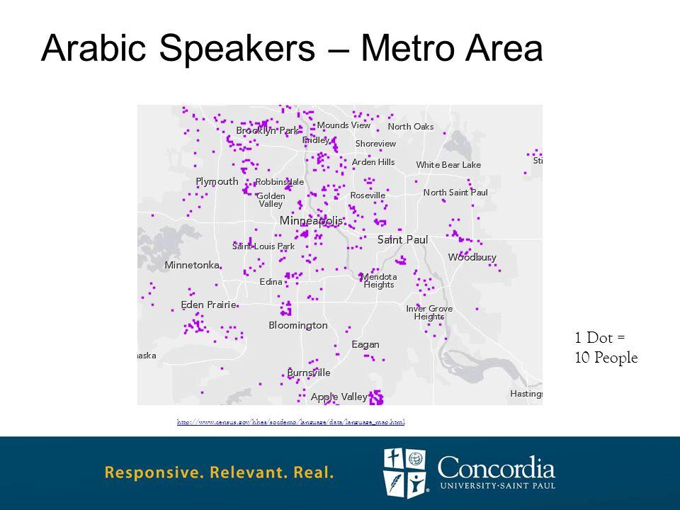 Arabic Speakers – Metro Area http://www.census.gov/hhes/socdemo/language/data/language_map.html 1 Dot = 10 People