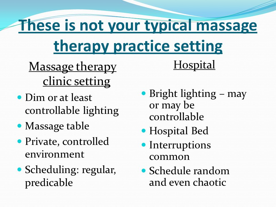 Hospital Based Massage Therapy Practice is NOT for all of your students.