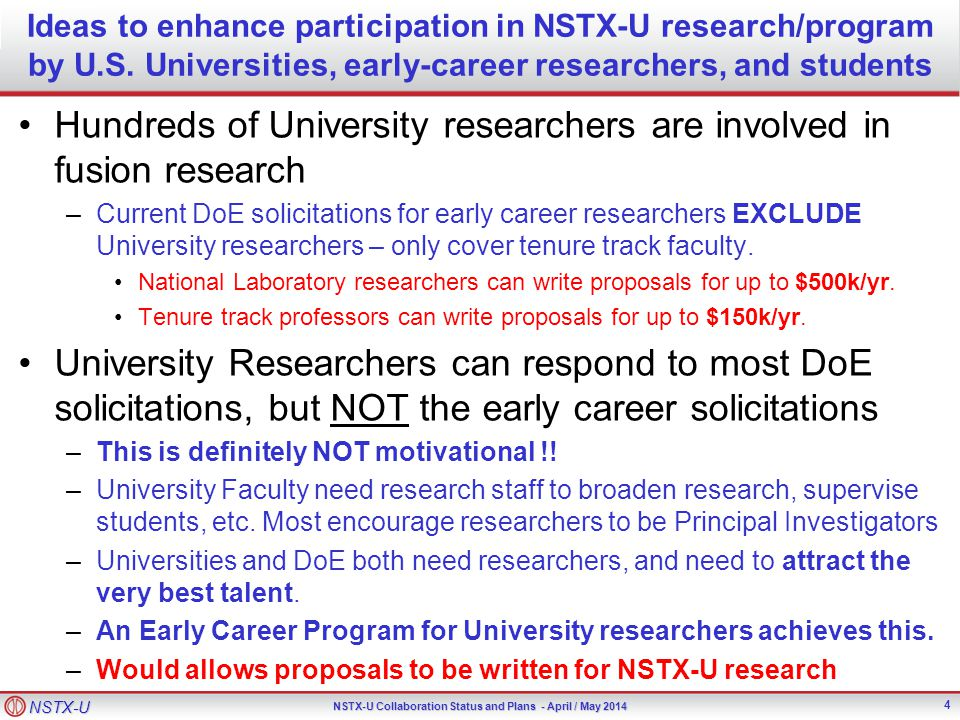 NSTX-U NSTX-U Collaboration Status and Plans - April / May 2014 Ideas to enhance participation in NSTX-U research/program by U.S.