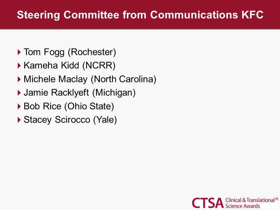Steering Committee from Communications KFC  Tom Fogg (Rochester)  Kameha Kidd (NCRR)  Michele Maclay (North Carolina)  Jamie Racklyeft (Michigan)  Bob Rice (Ohio State)  Stacey Scirocco (Yale)