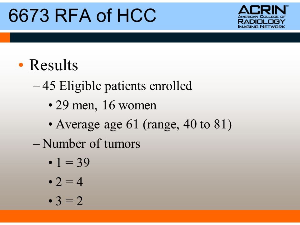 6673 RFA of HCC Results –45 Eligible patients enrolled 29 men, 16 women Average age 61 (range, 40 to 81) –Number of tumors 1 = 39 2 = 4 3 = 2