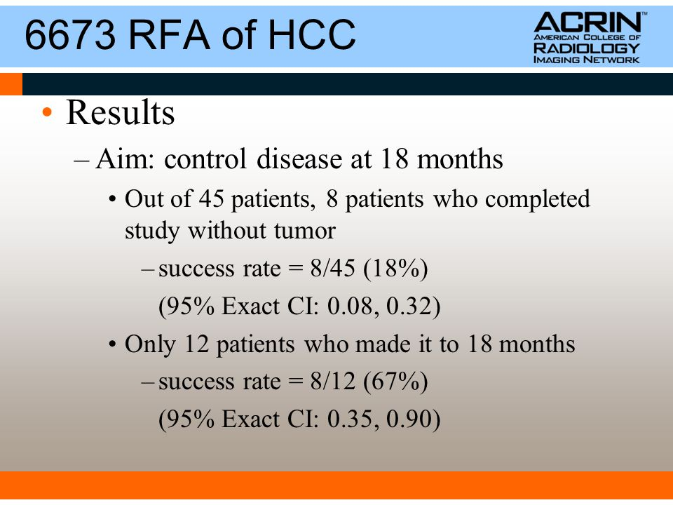 6673 RFA of HCC Results –Aim: control disease at 18 months Out of 45 patients, 8 patients who completed study without tumor –success rate = 8/45 (18%) (95% Exact CI: 0.08, 0.32) Only 12 patients who made it to 18 months –success rate = 8/12 (67%) (95% Exact CI: 0.35, 0.90)