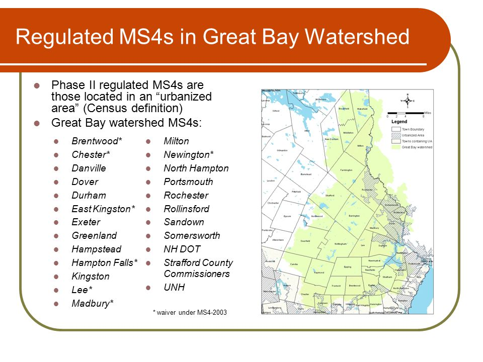Regulated MS4s in Great Bay Watershed Brentwood* Chester* Danville Dover Durham East Kingston* Exeter Greenland Hampstead Hampton Falls* Kingston Lee* Madbury* Milton Newington* North Hampton Portsmouth Rochester Rollinsford Sandown Somersworth NH DOT Strafford County Commissioners UNH * waiver under MS4-2003 Phase II regulated MS4s are those located in an urbanized area (Census definition) Great Bay watershed MS4s: