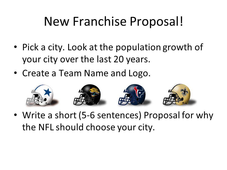 New Franchise Proposal. Pick a city.