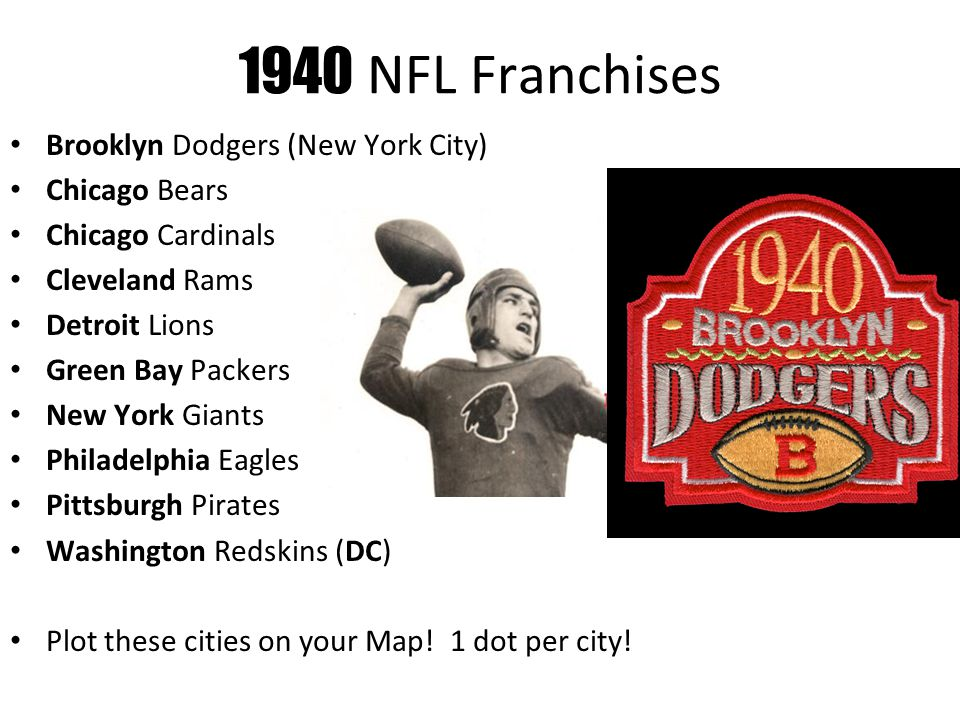 1940 NFL Franchises Brooklyn Dodgers (New York City) Chicago Bears Chicago Cardinals Cleveland Rams Detroit Lions Green Bay Packers New York Giants Philadelphia Eagles Pittsburgh Pirates Washington Redskins (DC) Plot these cities on your Map.