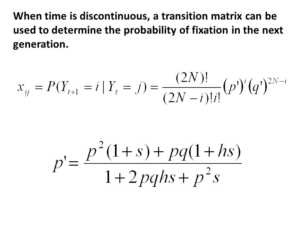 When time is discontinuous, a transition matrix can be used to determine the probability of fixation in the next generation.