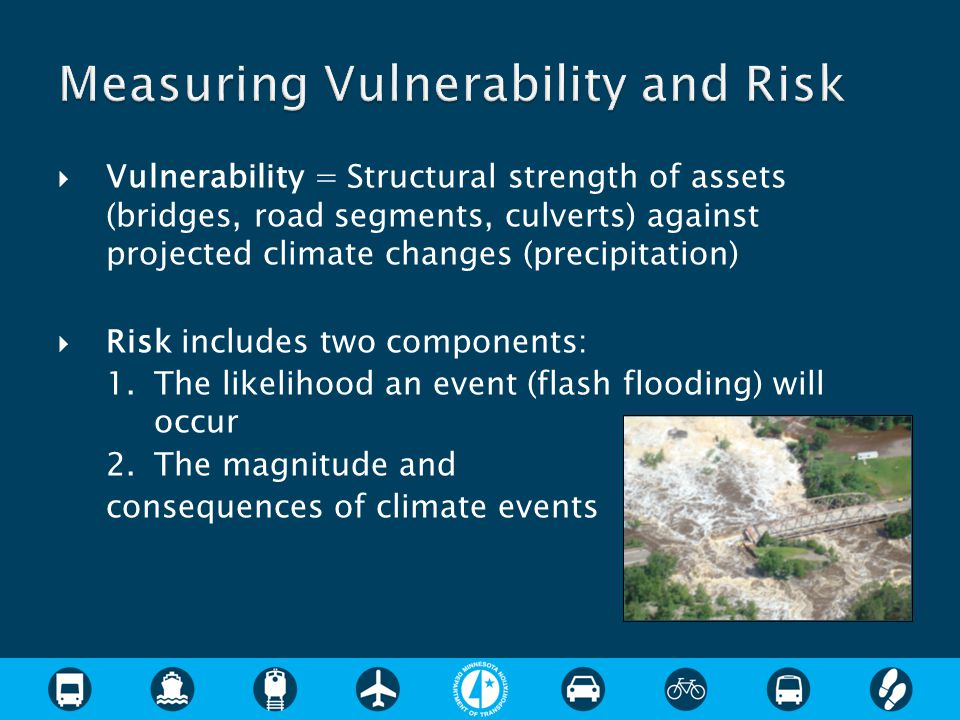  Vulnerability = Structural strength of assets (bridges, road segments, culverts) against projected climate changes (precipitation)  Risk includes two components: 1.The likelihood an event (flash flooding) will occur 2.The magnitude and consequences of climate events