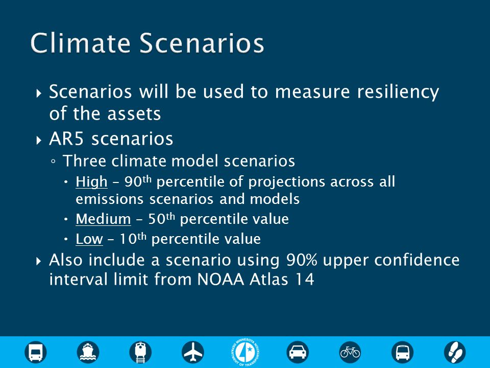  Scenarios will be used to measure resiliency of the assets  AR5 scenarios ◦ Three climate model scenarios  High – 90 th percentile of projections across all emissions scenarios and models  Medium – 50 th percentile value  Low – 10 th percentile value  Also include a scenario using 90% upper confidence interval limit from NOAA Atlas 14