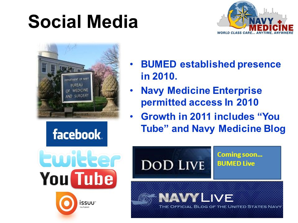 Navy Medicine in supporting the following Navy Weeks in 2011: Tampa, FL (Jan 22-29) Austin, TX (Mar.