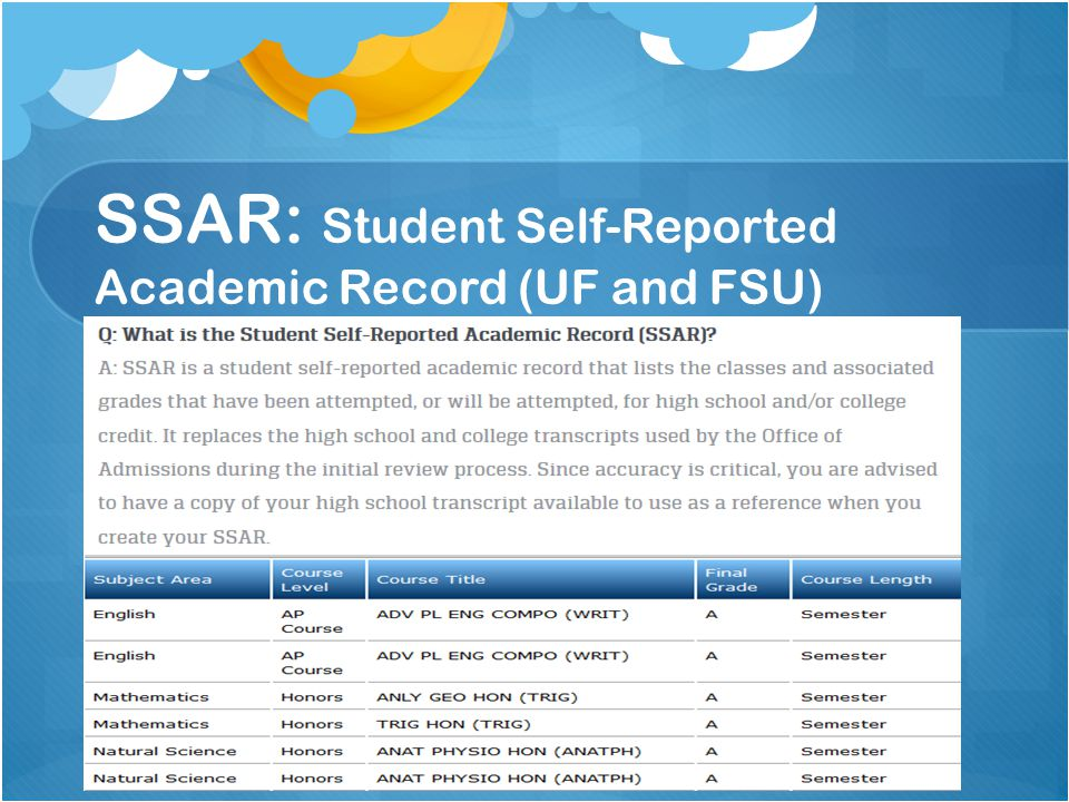 SSAR: Student Self-Reported Academic Record (UF and FSU)