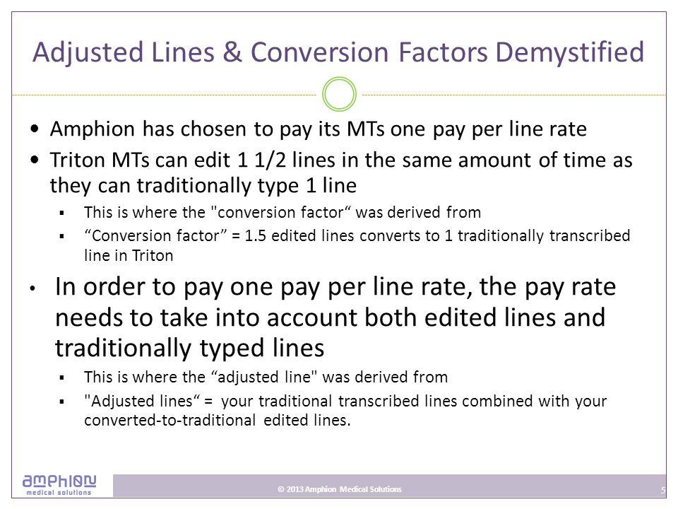 6 © 2013 Amphion Medical Solutions Triton Compensation Model $0.090-.093/adjusted line $0.090/adjusted line Quality level 1 98.8% to 99.1% $0.091/adjusted line Quality level 2 99.2% to 99.5% $0.092/adjusted line Quality level 3 99.6% to 99.9% $0.093/adjusted line Quality level 4 100%