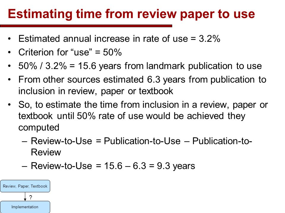 Estimating time from review paper to use Estimated annual increase in rate of use = 3.2% Criterion for use = 50% 50% / 3.2% = 15.6 years from landmark publication to use From other sources estimated 6.3 years from publication to inclusion in review, paper or textbook So, to estimate the time from inclusion in a review, paper or textbook until 50% rate of use would be achieved they computed –Review-to-Use = Publication-to-Use – Publication-to- Review –Review-to-Use = 15.6 – 6.3 = 9.3 years 7 Review, Paper, Textbook Implementation