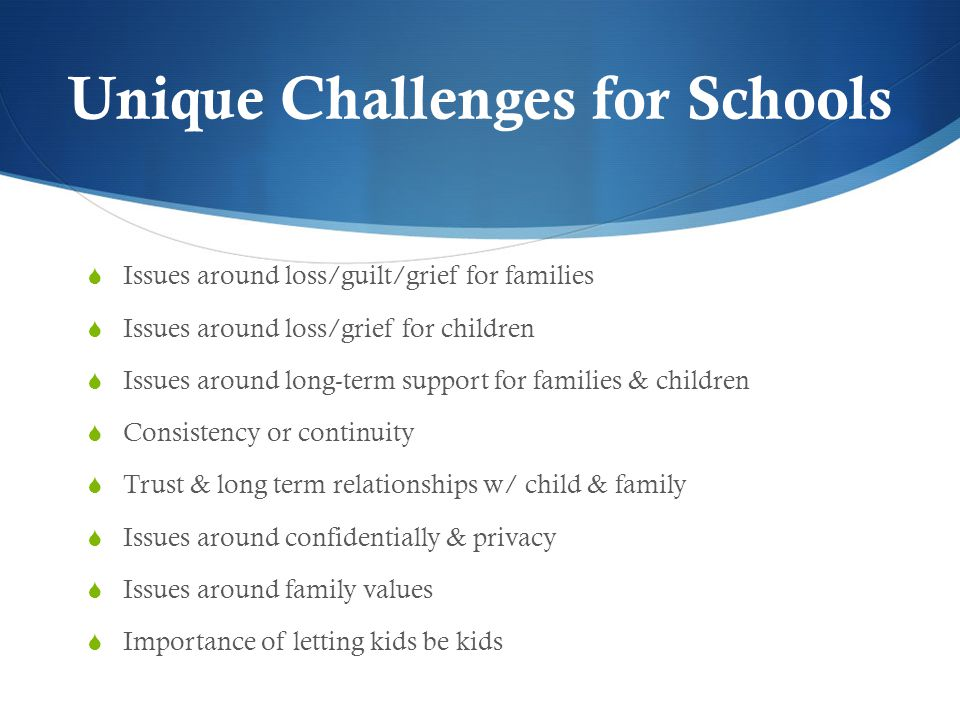 Unique Challenges for Schools  Issues around loss/guilt/grief for families  Issues around loss/grief for children  Issues around long-term support for families & children  Consistency or continuity  Trust & long term relationships w/ child & family  Issues around confidentially & privacy  Issues around family values  Importance of letting kids be kids