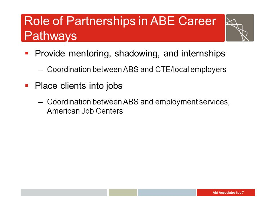 Abt Associates | pg 8 Strategies for Developing and Maintaining Partnerships  Forming partnerships  Developing strong interpersonal relationships  Building a process and structure
