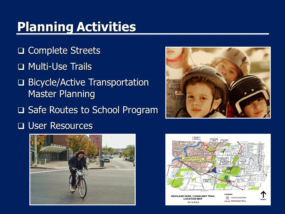 Planning Activities  Complete Streets  Multi-Use Trails  Bicycle/Active Transportation Master Planning  Safe Routes to School Program  User Resources