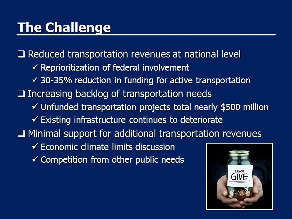 The Challenge  Reduced transportation revenues at national level Reprioritization of federal involvement Reprioritization of federal involvement 30-3
