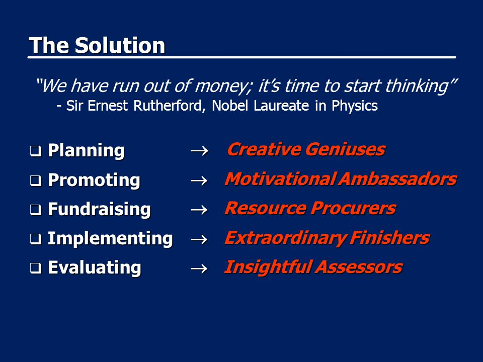 The Solution  Planning  Promoting  Fundraising  Implementing  Evaluating  Creative Geniuses  Motivational Ambassadors  Resource Procurers  Ex