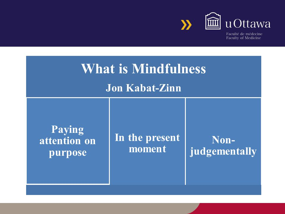 What is Mindfulness Jon Kabat-Zinn Paying attention on purpose In the present moment Non- judgementally