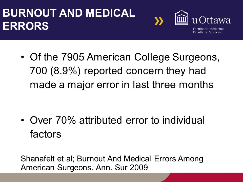 BURNOUT AND MEDICAL ERRORS Of the 7905 American College Surgeons, 700 (8.9%) reported concern they had made a major error in last three months Over 70% attributed error to individual factors Shanafelt et al; Burnout And Medical Errors Among American Surgeons.