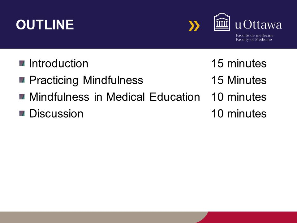 OUTLINE Introduction 15 minutes Practicing Mindfulness15 Minutes Mindfulness in Medical Education 10 minutes Discussion 10 minutes