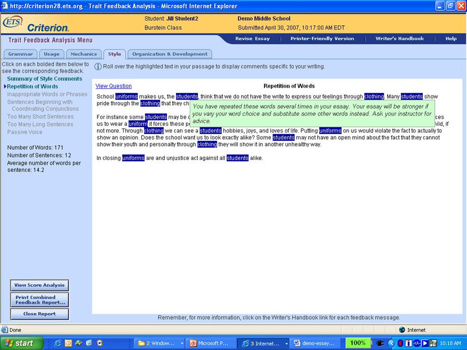 Confidential and Proprietary. Copyright © 2007 by Educational Testing Service. 10