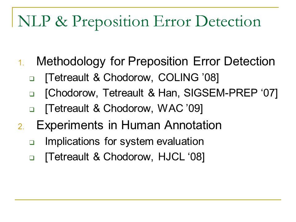 NLP & Preposition Error Detection 1.