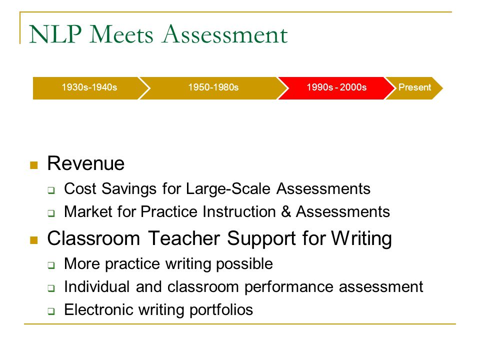 1930s-1940s1950-1980s1990s - 2000sPresent NLP Meets Assessment Revenue  Cost Savings for Large-Scale Assessments  Market for Practice Instruction & Assessments Classroom Teacher Support for Writing  More practice writing possible  Individual and classroom performance assessment  Electronic writing portfolios