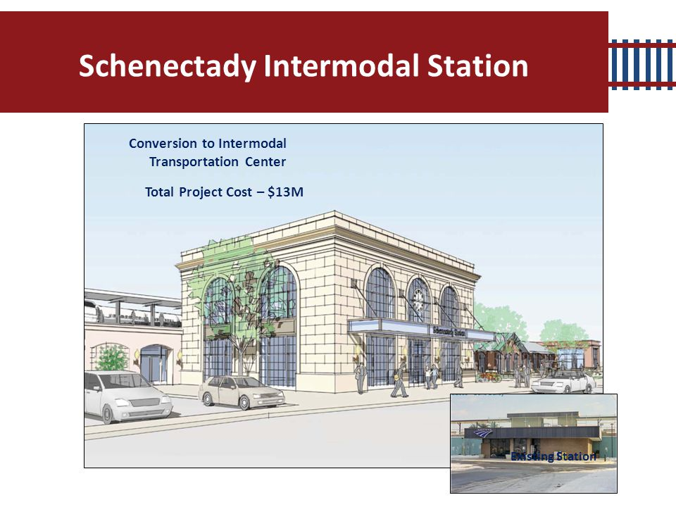 Schenectady Intermodal Station Total Project Cost – $13M Conversion to Intermodal Transportation Center Existing Station