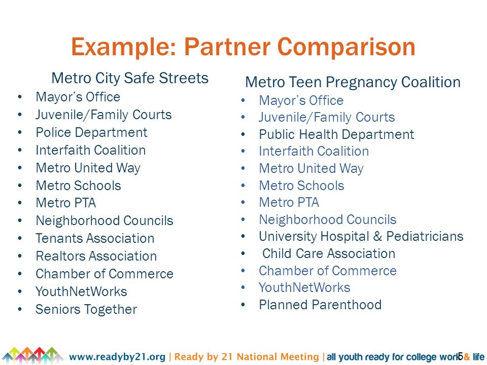 Example: Partner Comparison Metro City Safe Streets Mayor's Office Juvenile/Family Courts Police Department Interfaith Coalition Metro United Way Metro Schools Metro PTA Neighborhood Councils Tenants Association Realtors Association Chamber of Commerce YouthNetWorks Seniors Together 5 Metro Teen Pregnancy Coalition Mayor's Office Juvenile/Family Courts Public Health Department Interfaith Coalition Metro United Way Metro Schools Metro PTA Neighborhood Councils University Hospital & Pediatricians Child Care Association Chamber of Commerce YouthNetWorks Planned Parenthood
