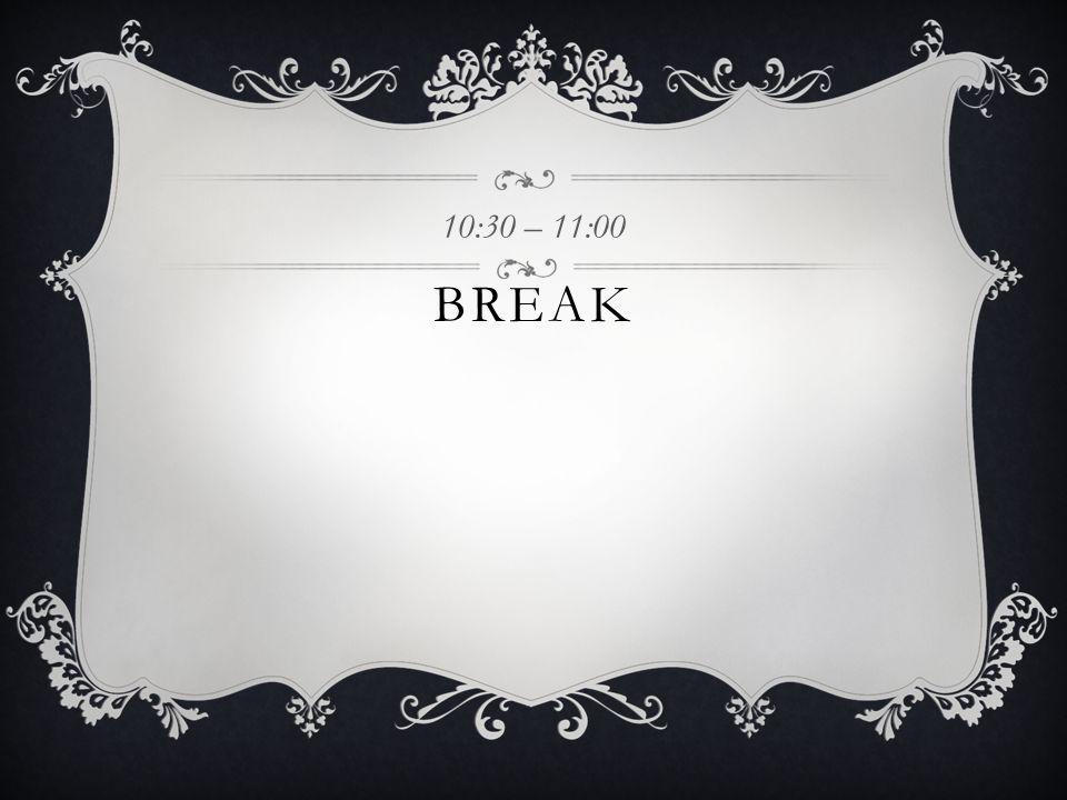 BREAK 10:30 – 11:00