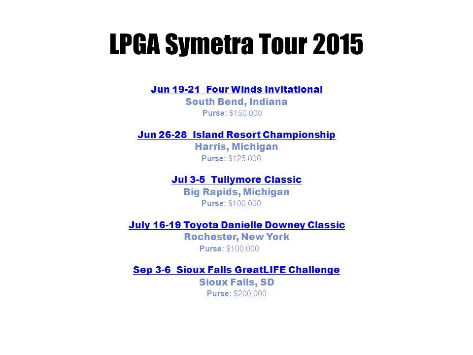 LPGA Symetra Tour 2015 Sep 11-13 Sep 11-13 Prairie Band Casino & Resort Charity Classic presented by Toyota Mayetta, Kansas Purse: $100,000Sep 18-20 Sept 18-20 Garden City Charity Classic Garden City, Kansas Purse: $100,000Sep 25-27 Sep 25-27 Murphy USA El Dorado Shootout Presented by PepsiCo El Dorado, Arkansas Purse: $100,000Oct 9-11 Oct 9-11 IOA Golf Classic Longwood, Florida Purse: $100,000Oct 1 5-18 Oct 15-18 Symetra Tour Championship Presented by Embry-Riddle Aeronautical University Daytona Beach, Florida Purse: $150,000