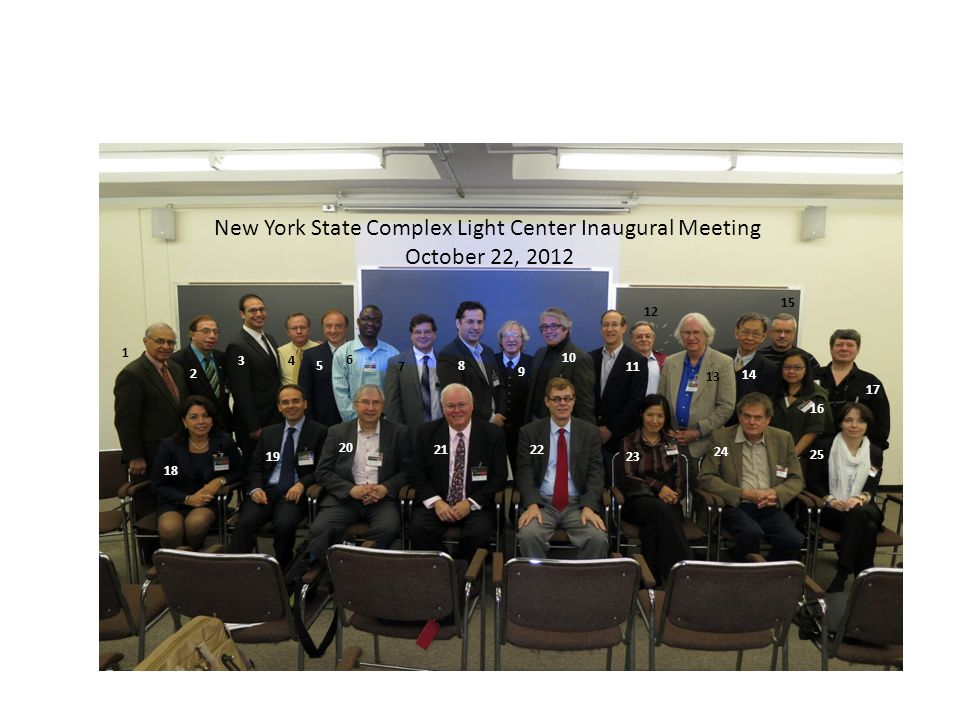 New York State Complex Light Center Inaugural Meeting October 22, 2012 1 11 2 34 5 7 1 6 19 20 2122 23 25 24 17 14 16 18 8 9 10 15 13 12