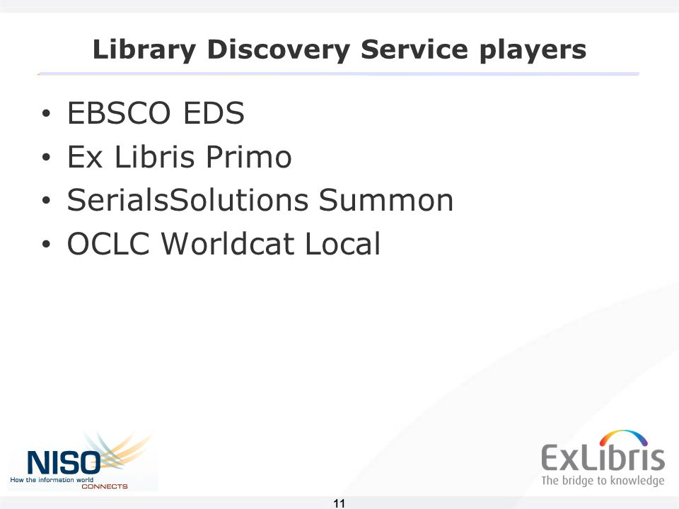 11 Library Discovery Service players EBSCO EDS Ex Libris Primo SerialsSolutions Summon OCLC Worldcat Local