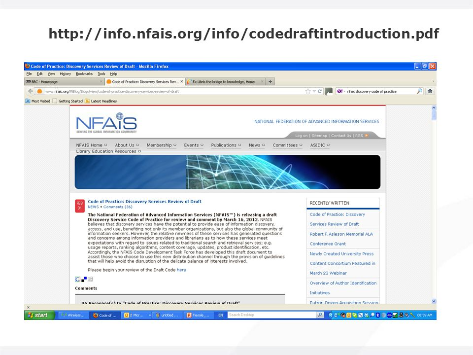 http://info.nfais.org/info/codedraftintroduction.pdf