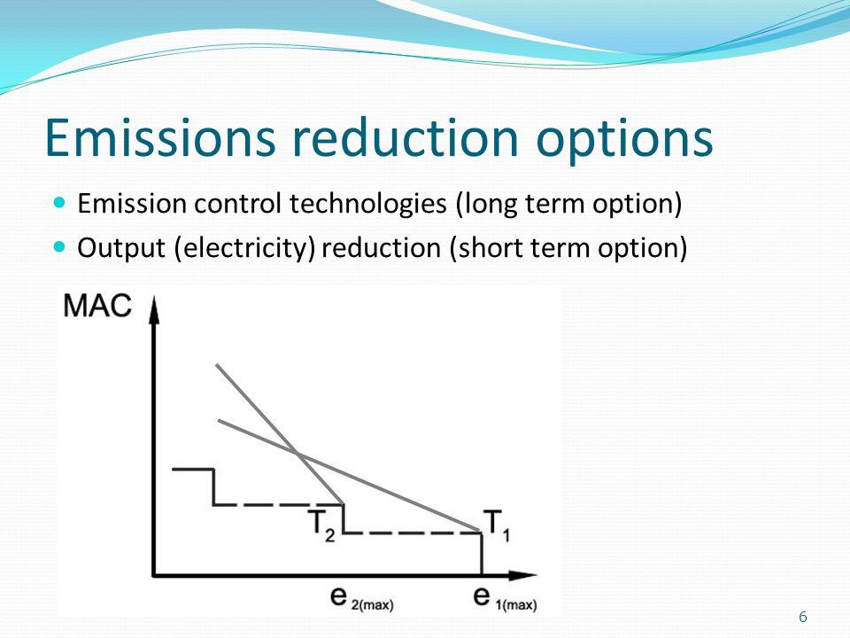 Emissions reduction options 6 Emission control technologies (long term option) Output (electricity) reduction (short term option)