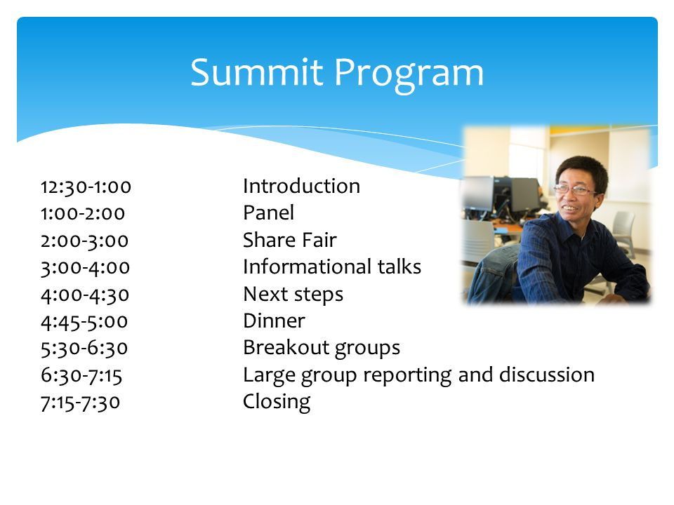 Summit Program 12:30-1:00Introduction 1:00-2:00Panel 2:00-3:00Share Fair 3:00-4:00Informational talks 4:00-4:30Next steps 4:45-5:00Dinner 5:30-6:30Breakout groups 6:30-7:15Large group reporting and discussion 7:15-7:30Closing