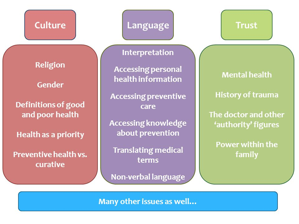 CultureTrustLanguage Religion Gender Definitions of good and poor health Health as a priority Preventive health vs.