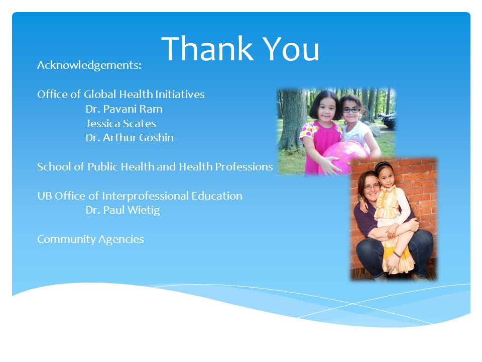 Acknowledgements: Office of Global Health Initiatives Dr.