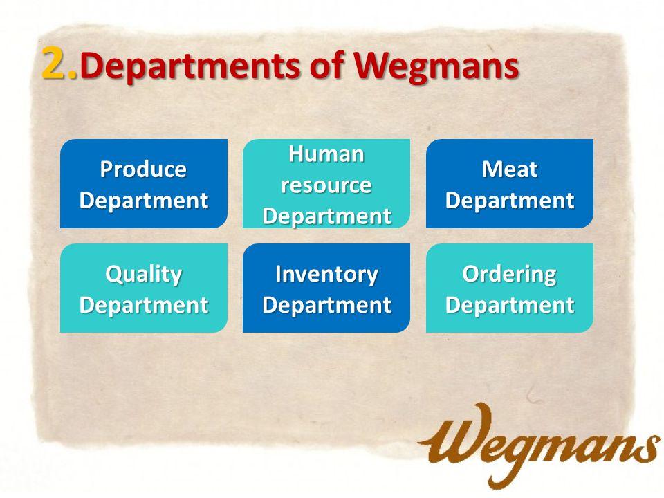 2. Departments of Wegmans ProduceDepartmentMeatDepartment Human resource Department QualityDepartment Ordering Department Inventory Department