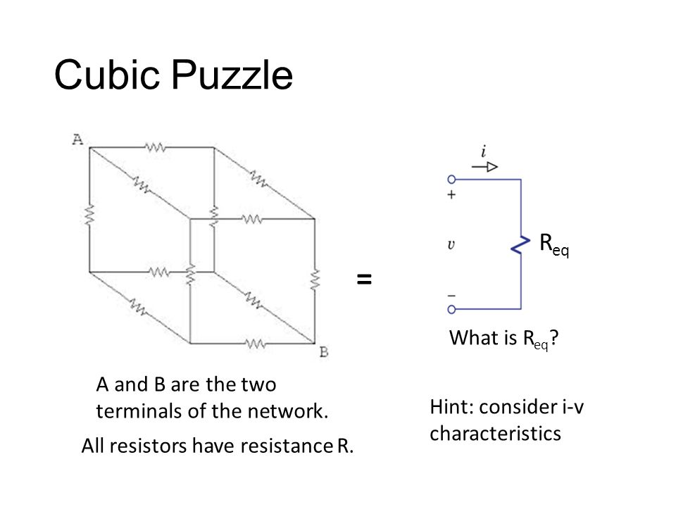 Cubic Puzzle All resistors have resistance R. A and B are the two terminals of the network.