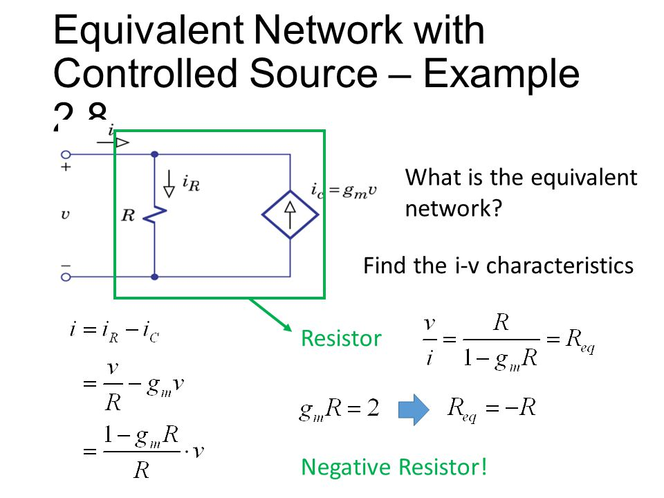 Equivalent Network with Controlled Source – Example 2.8 What is the equivalent network.