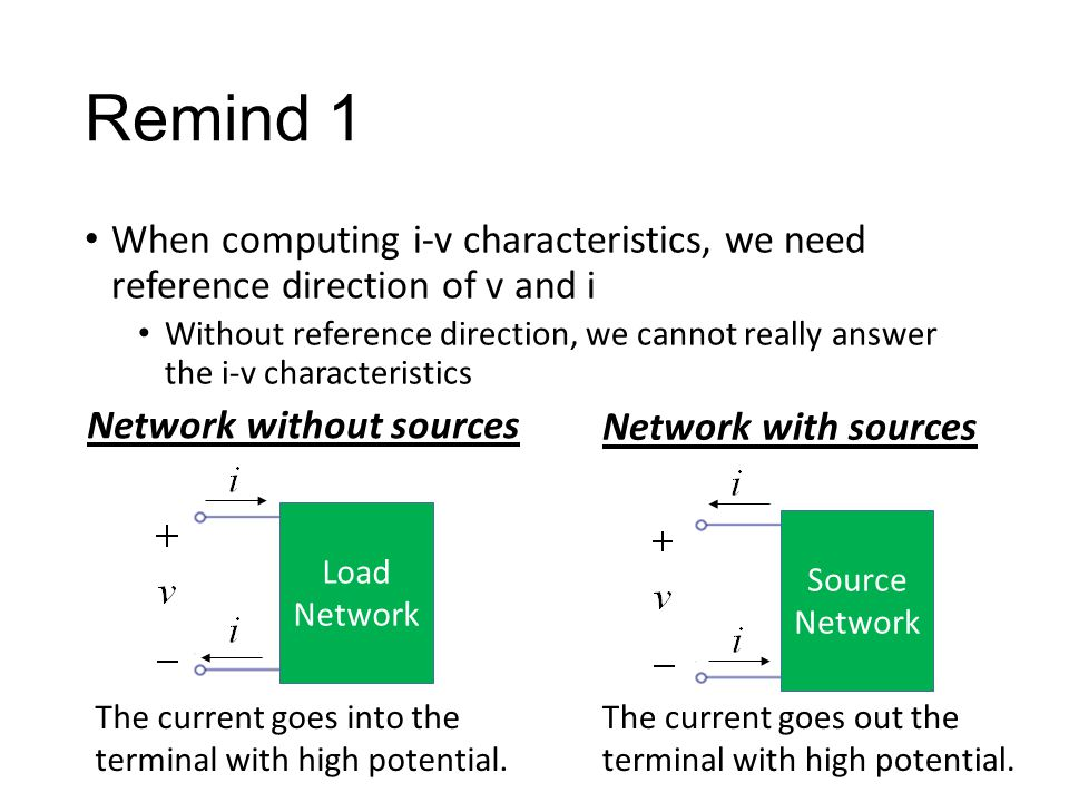 Remind 1 When computing i-v characteristics, we need reference direction of v and i Without reference direction, we cannot really answer the i-v characteristics Load Network Source Network The current goes into the terminal with high potential.