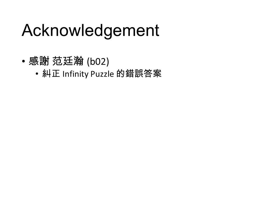 Acknowledgement 感謝 范廷瀚 (b02) 糾正 Infinity Puzzle 的錯誤答案