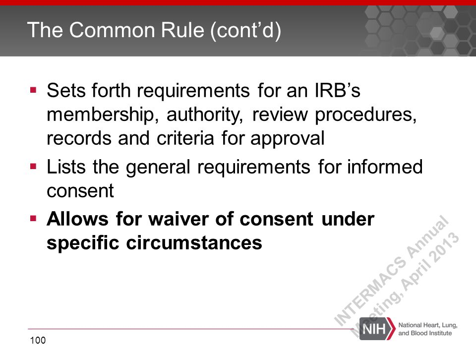  Sets forth requirements for an IRB's membership, authority, review procedures, records and criteria for approval  Lists the general requirements fo