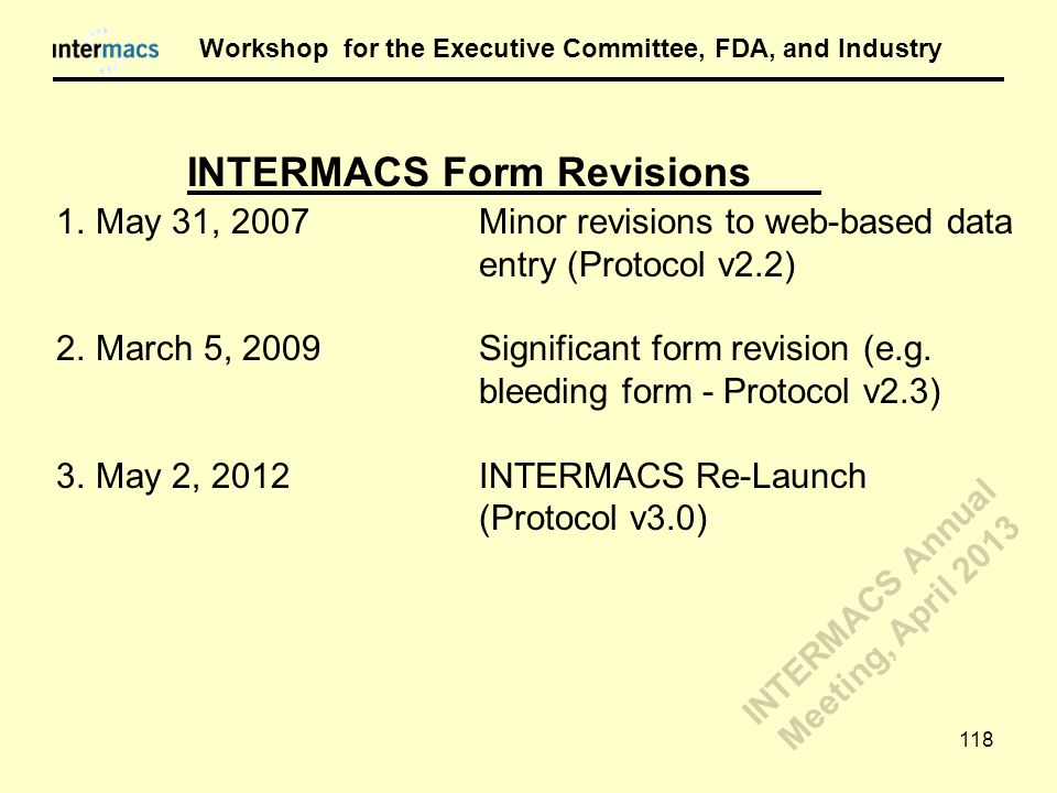 1.May 31, 2007Minor revisions to web-based data entry (Protocol v2.2) 2.March 5, 2009Significant form revision (e.g. bleeding form - Protocol v2.3) 3.