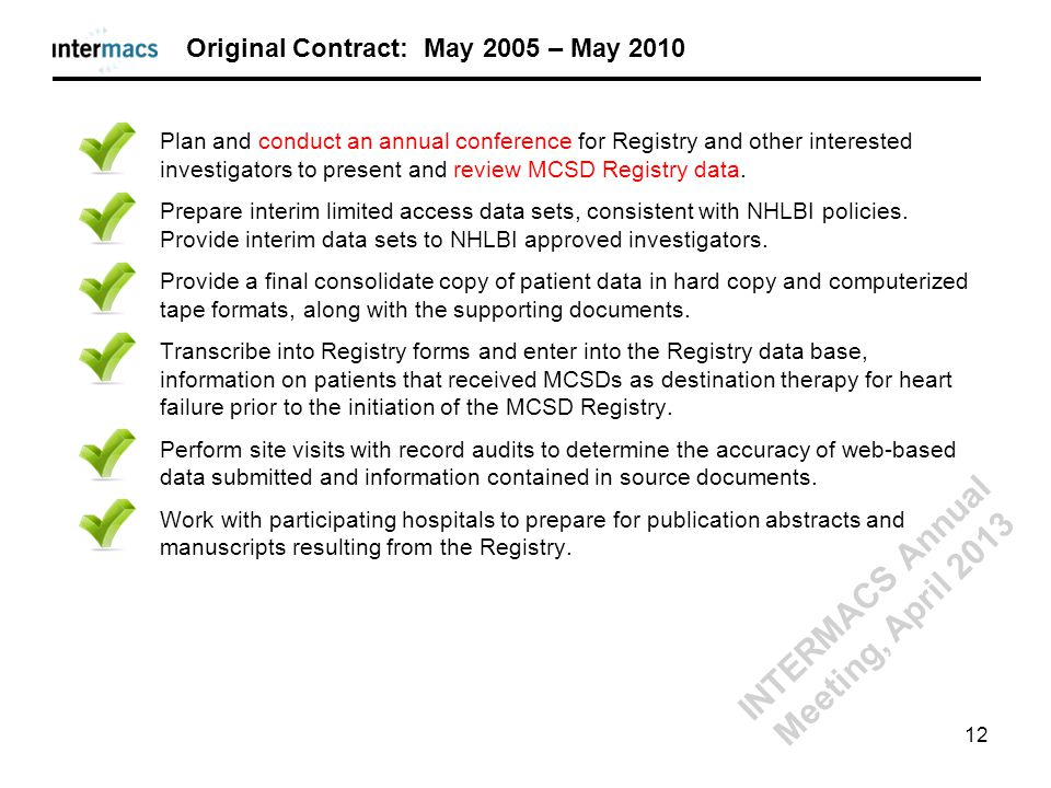Plan and conduct an annual conference for Registry and other interested investigators to present and review MCSD Registry data. Prepare interim limite